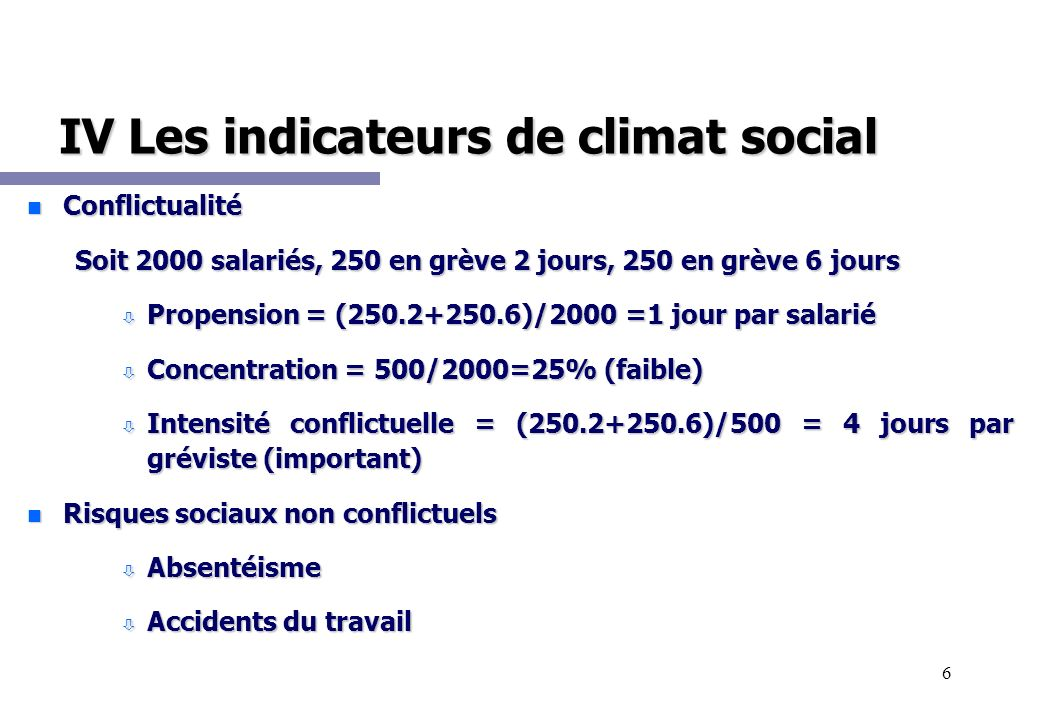 6 IV Les indicateurs de climat social n Conflictualité Soit 2000 salariés, 250 en grève 2 jours, 250 en grève 6 jours ò Propension = (250.2+250.6)/200