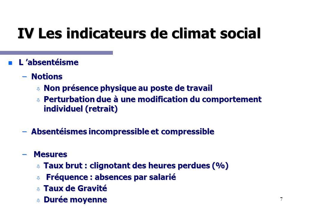 7 IV Les indicateurs de climat social n L absentéisme –Notions ò Non présence physique au poste de travail ò Perturbation due à une modification du co