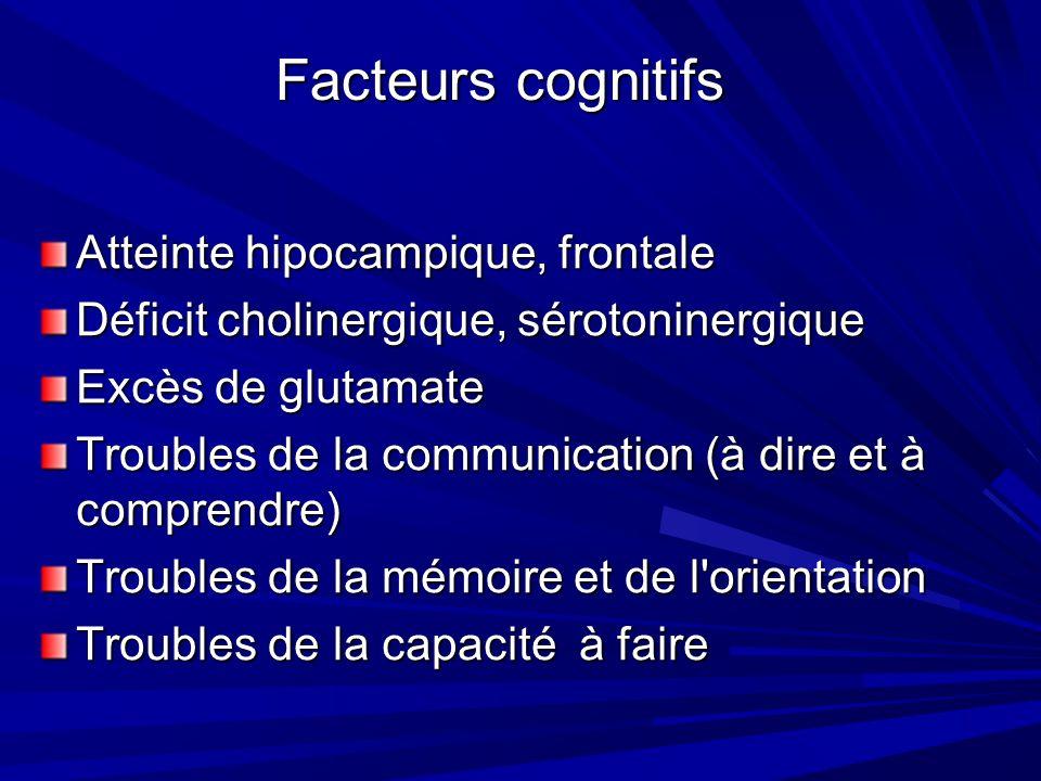Atteinte hipocampique, frontale Déficit cholinergique, sérotoninergique Excès de glutamate Troubles de la communication (à dire et à comprendre) Troubles de la mémoire et de l orientation Troubles de la capacité à faire Facteurs cognitifs