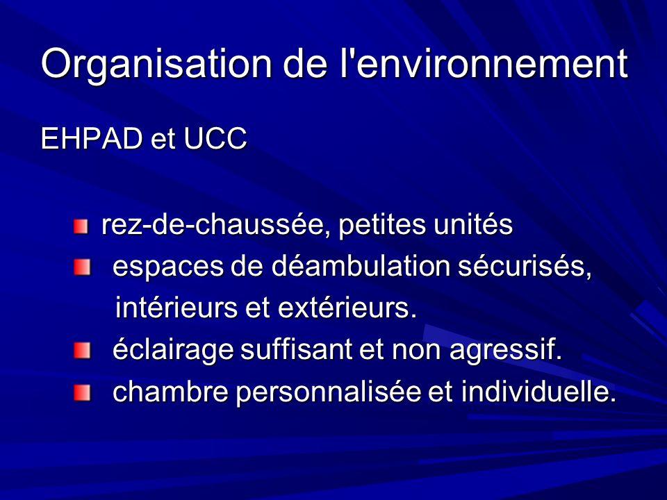 Organisation de l environnement EHPAD et UCC rez-de-chaussée, petites unités rez-de-chaussée, petites unités espaces de déambulation sécurisés, espaces de déambulation sécurisés, intérieurs et extérieurs.