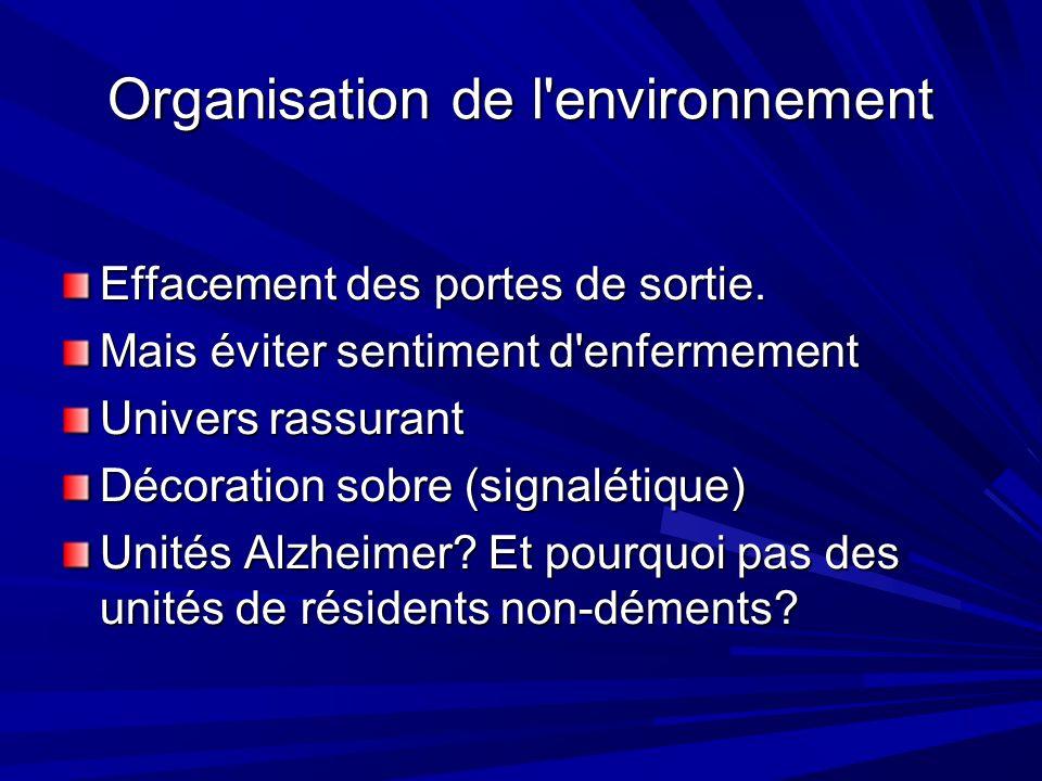 Organisation de l environnement Effacement des portes de sortie.