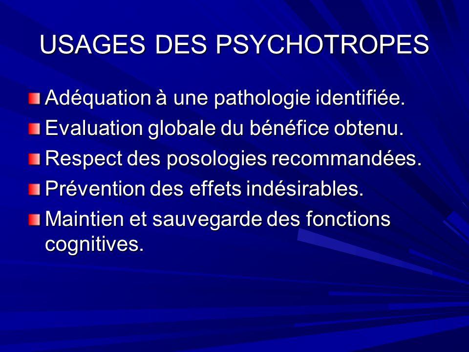 USAGES DES PSYCHOTROPES Adéquation à une pathologie identifiée.