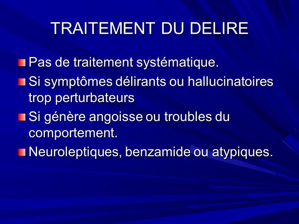 TRAITEMENT DU DELIRE Pas de traitement systématique.