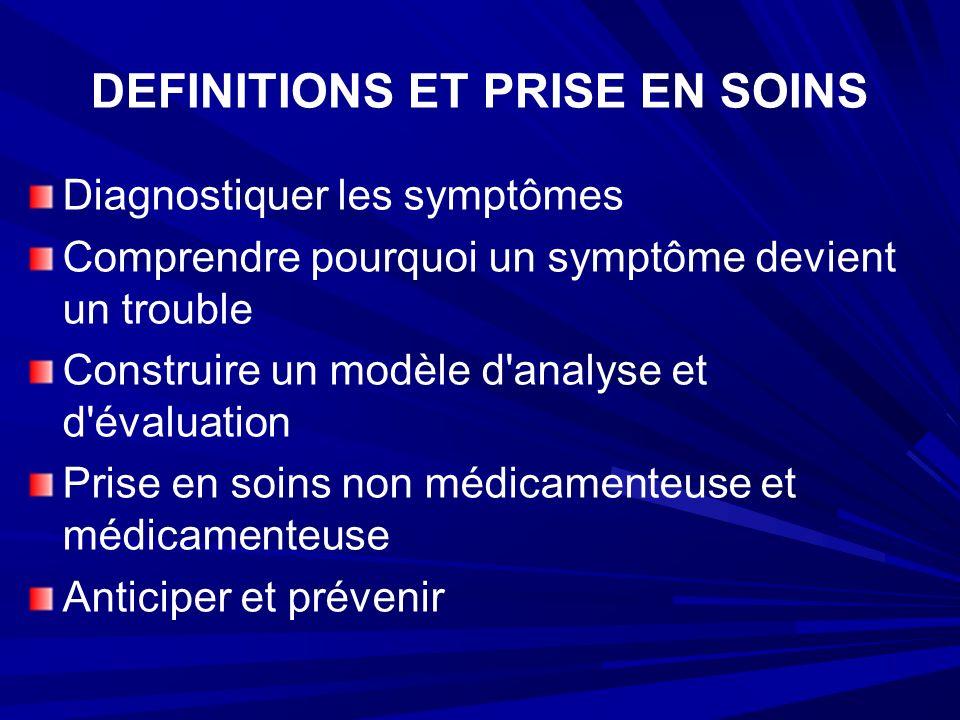 DEFINITIONS ET PRISE EN SOINS Diagnostiquer les symptômes Comprendre pourquoi un symptôme devient un trouble Construire un modèle d analyse et d évaluation Prise en soins non médicamenteuse et médicamenteuse Anticiper et prévenir