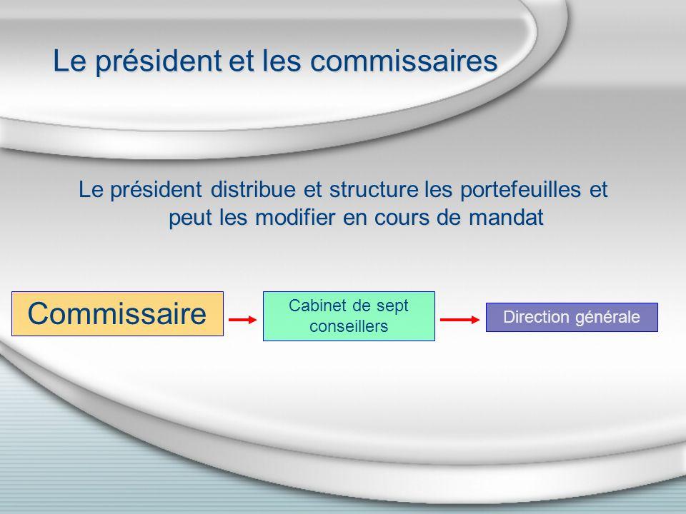 Le président et les commissaires Le président distribue et structure les portefeuilles et peut les modifier en cours de mandat Commissaire Cabinet de sept conseillers Direction générale