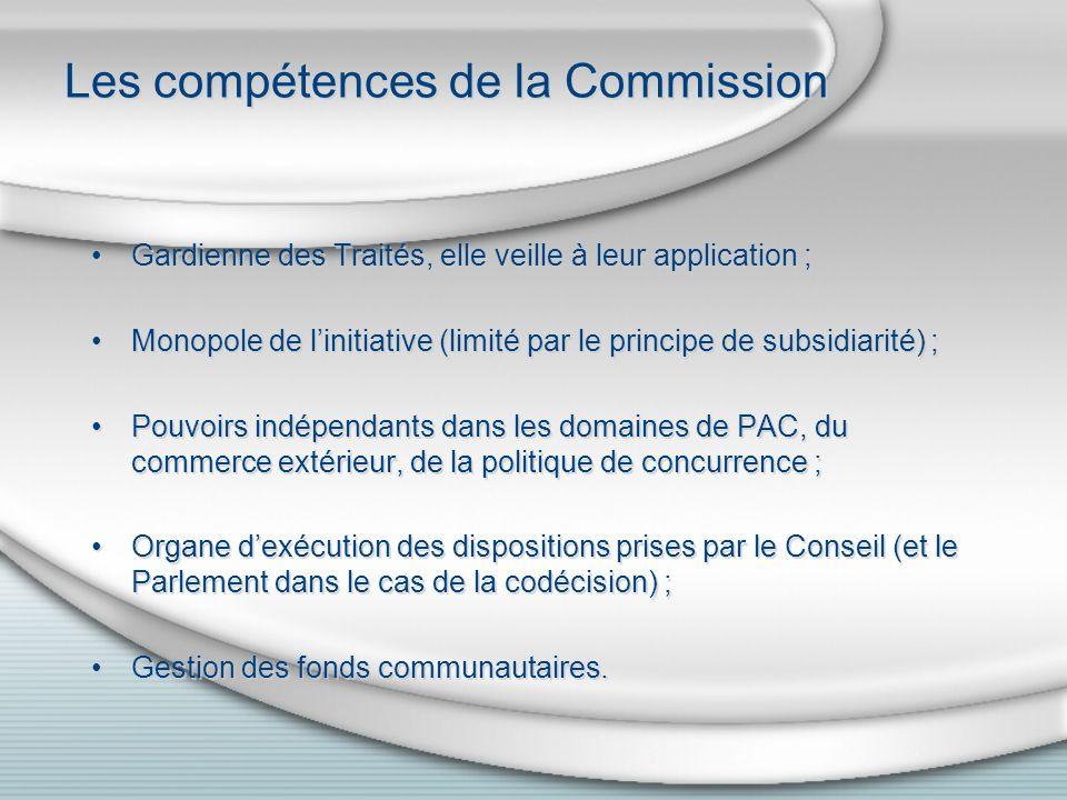 Les compétences de la Commission Gardienne des Traités, elle veille à leur application ; Monopole de linitiative (limité par le principe de subsidiarité) ; Pouvoirs indépendants dans les domaines de PAC, du commerce extérieur, de la politique de concurrence ; Organe dexécution des dispositions prises par le Conseil (et le Parlement dans le cas de la codécision) ; Gestion des fonds communautaires.