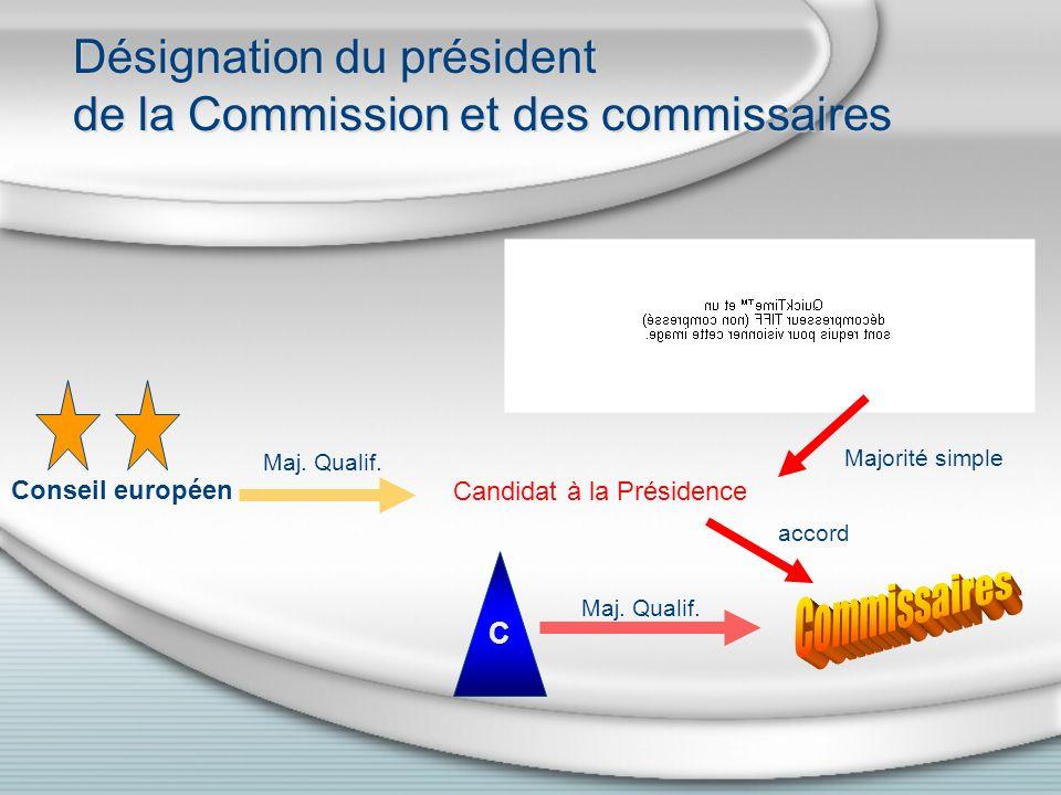 Désignation du président de la Commission et des commissaires C Maj.