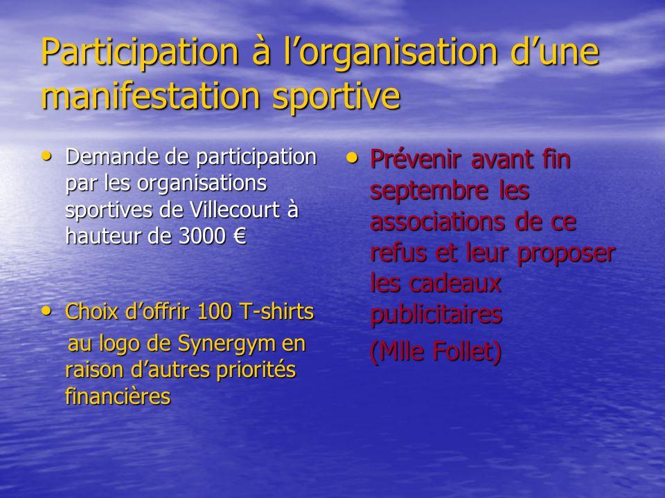 Participation à lorganisation dune manifestation sportive Demande de participation par les organisations sportives de Villecourt à hauteur de 3000 Dem