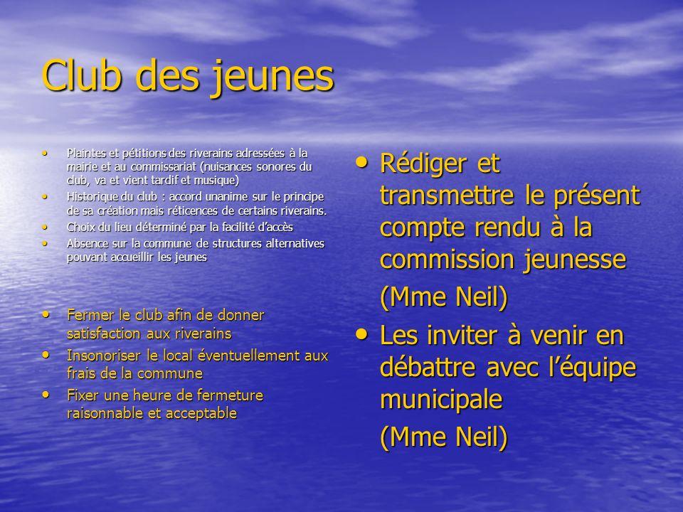 Club des jeunes Plaintes et pétitions des riverains adressées à la mairie et au commissariat (nuisances sonores du club, va et vient tardif et musique