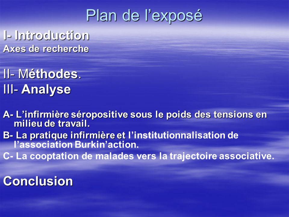 Plan de lexposé I- Introduction Axes de recherche II- Méthodes.