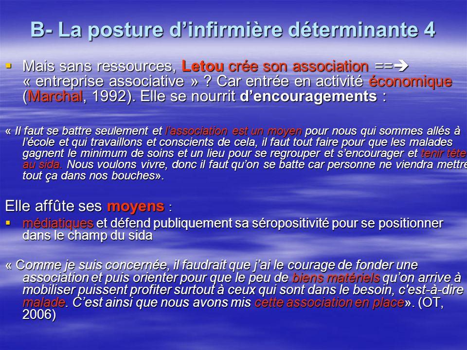 B- La posture dinfirmière déterminante 4 Mais sans ressources, Letou crée son association == « entreprise associative » .