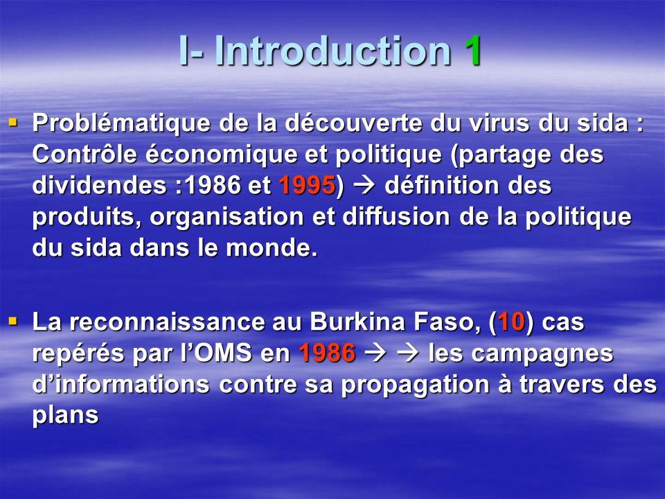 I- Introduction 1 Problématique de la découverte du virus du sida : Contrôle économique et politique (partage des dividendes :1986 et 1995) définition des produits, organisation et diffusion de la politique du sida dans le monde.
