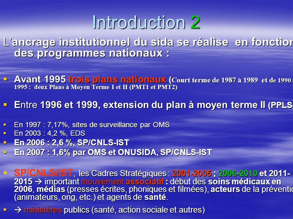Introduction 2 Lancrage institutionnel du sida se réalise en fonction des programmes nationaux : Avant 1995 trois plans nationaux ( Court terme de 1987 à 1989 et d e 1990 à 1995 : deux Plans à Moyen Terme I et II (PMT1 et PMT2) Avant 1995 trois plans nationaux ( Court terme de 1987 à 1989 et d e 1990 à 1995 : deux Plans à Moyen Terme I et II (PMT1 et PMT2) Entre 1996 et 1999, extension du plan à moyen terme II (PPLS) Entre 1996 et 1999, extension du plan à moyen terme II (PPLS) En 1997 : 7,17%, sites de surveillance par OMS En 1997 : 7,17%, sites de surveillance par OMS En 2003 : 4,2 %, EDS En 2003 : 4,2 %, EDS En 2006 : 2,6 %, SP/CNLS-IST En 2006 : 2,6 %, SP/CNLS-IST En 2007 : 1,6% par OMS et ONUSIDA, SP/CNLS-IST En 2007 : 1,6% par OMS et ONUSIDA, SP/CNLS-IST, les Cadres Stratégiques : 2001-2005 ; 2006-2010 et 2011- 2015 important mouvement associatif : début des soins médicaux en 2006, médias (presses écrites, phoniques et filmées), acteurs de la prévention (animateurs, ong, etc.) et agents de santé.