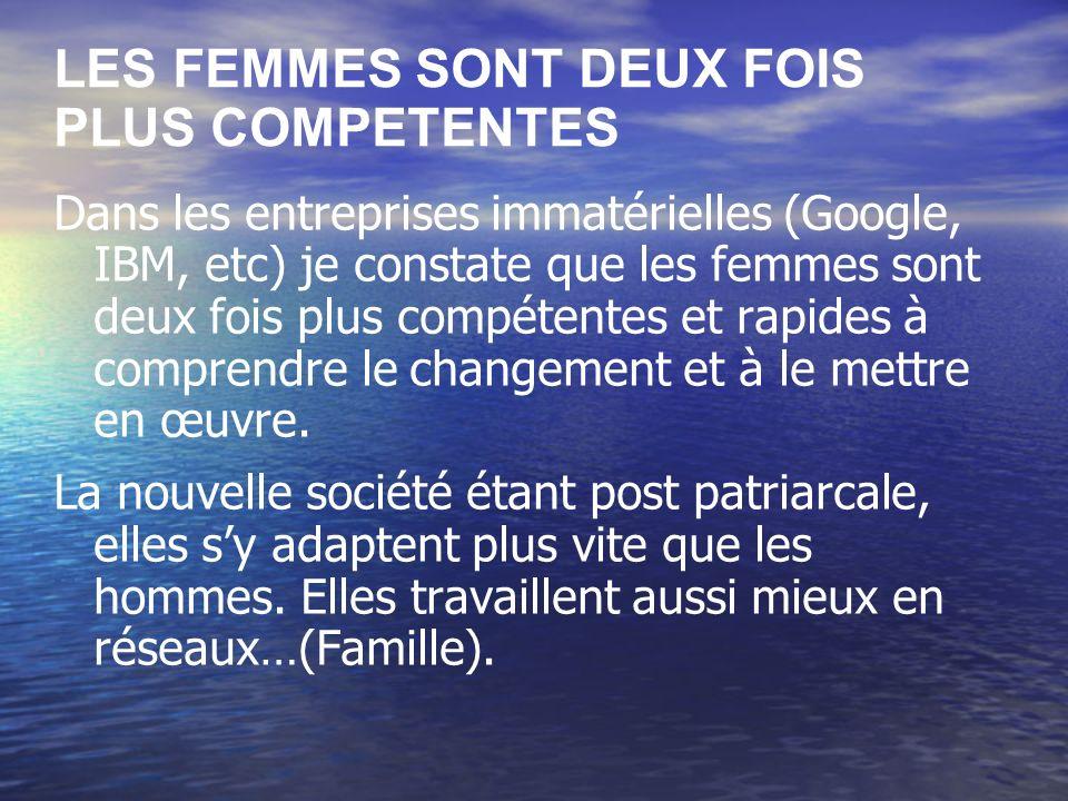 LES FEMMES SONT DEUX FOIS PLUS COMPETENTES Dans les entreprises immatérielles (Google, IBM, etc) je constate que les femmes sont deux fois plus compétentes et rapides à comprendre le changement et à le mettre en œuvre.