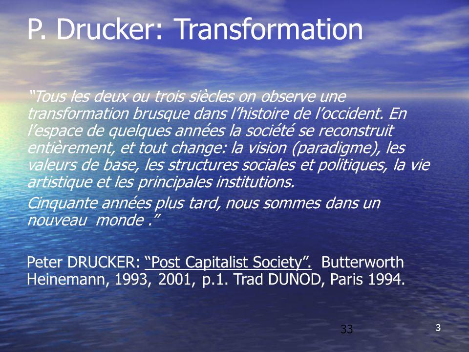 3 P. Drucker: Transformation Tous les deux ou trois siècles on observe une transformation brusque dans lhistoire de loccident. En lespace de quelques