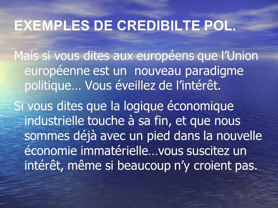 EXEMPLES DE CREDIBILTE POL. Mais si vous dites aux européens que lUnion européenne est un nouveau paradigme politique… Vous éveillez de lintérêt. Si v