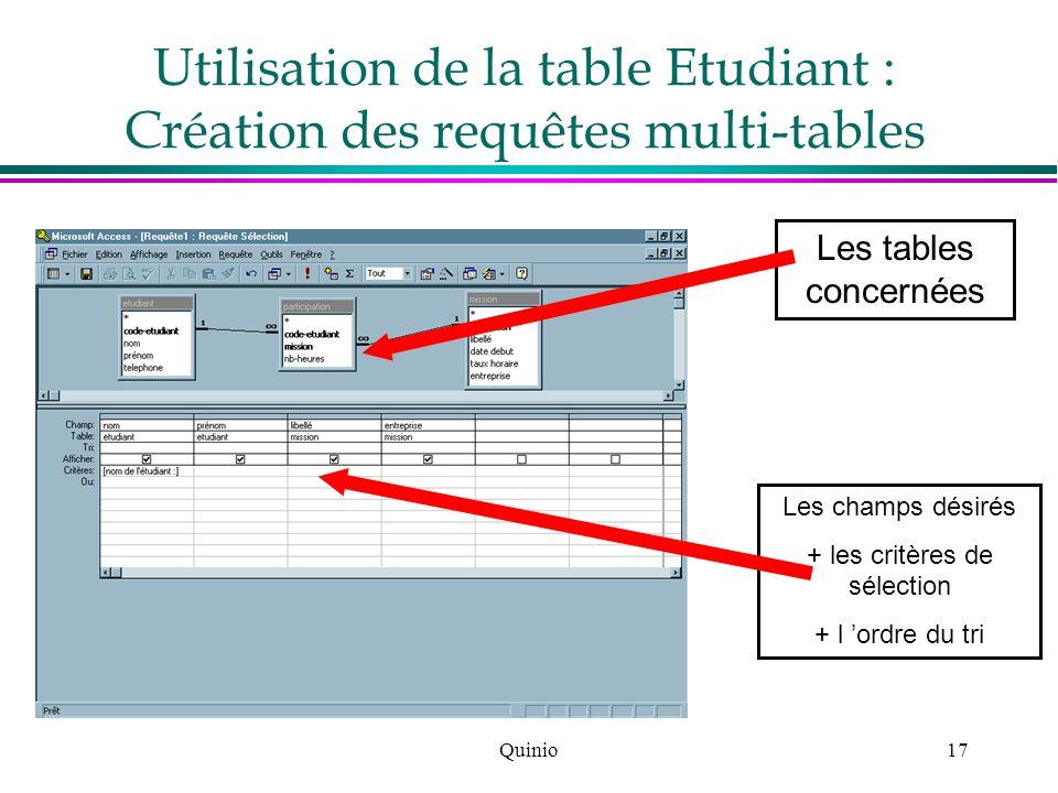 Quinio17 Les tables concernées Les champs désirés + les critères de sélection + l ordre du tri Utilisation de la table Etudiant : Création des requête