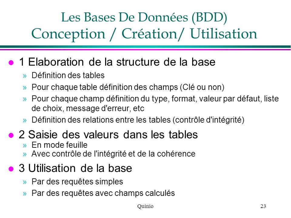 Quinio23 Les Bases De Données (BDD) Conception / Création/ Utilisation l 1 Elaboration de la structure de la base »Définition des tables »Pour chaque