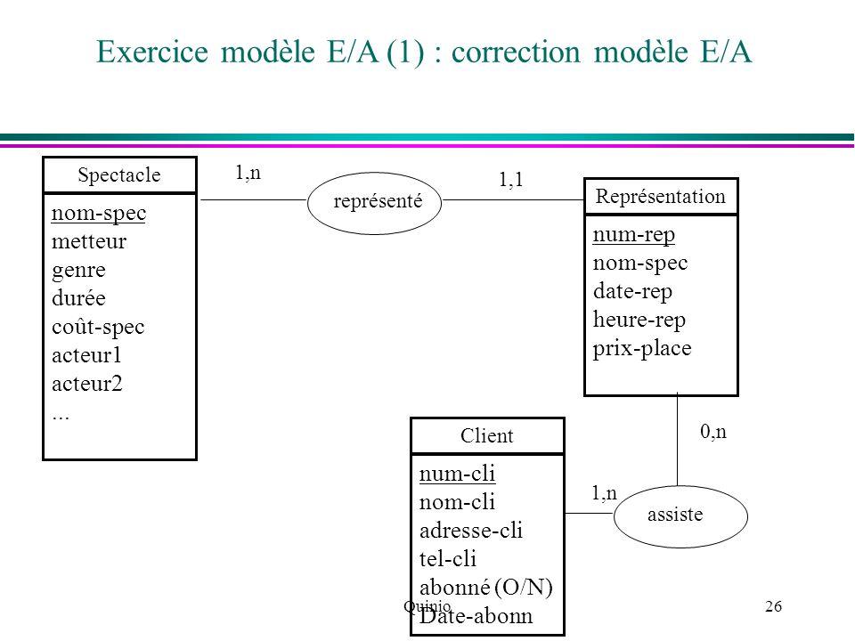 Quinio26 Exercice modèle E/A (1) : correction modèle E/A Spectacle nom-spec metteur genre durée coût-spec acteur1 acteur2... Représentation num-rep no