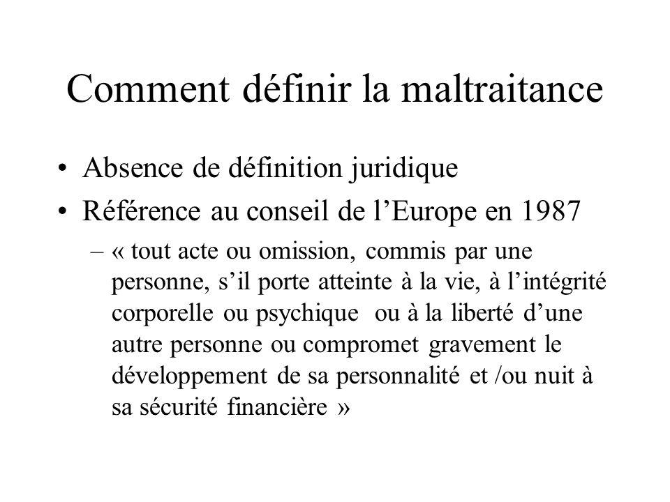 Comment définir la maltraitance Absence de définition juridique Référence au conseil de lEurope en 1987 –« tout acte ou omission, commis par une perso