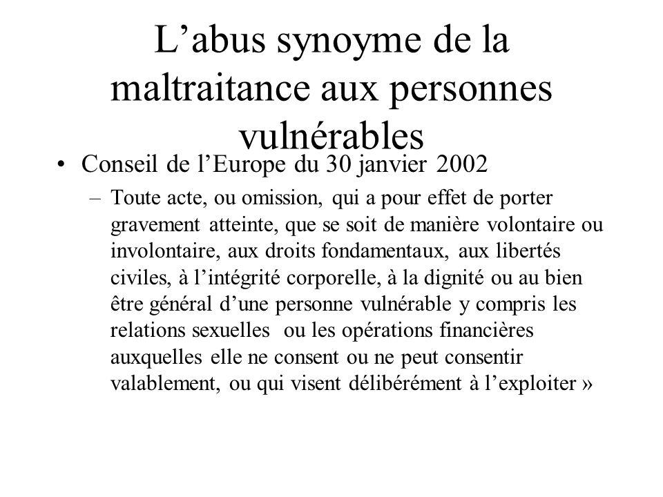 Labus synoyme de la maltraitance aux personnes vulnérables Conseil de lEurope du 30 janvier 2002 –Toute acte, ou omission, qui a pour effet de porter