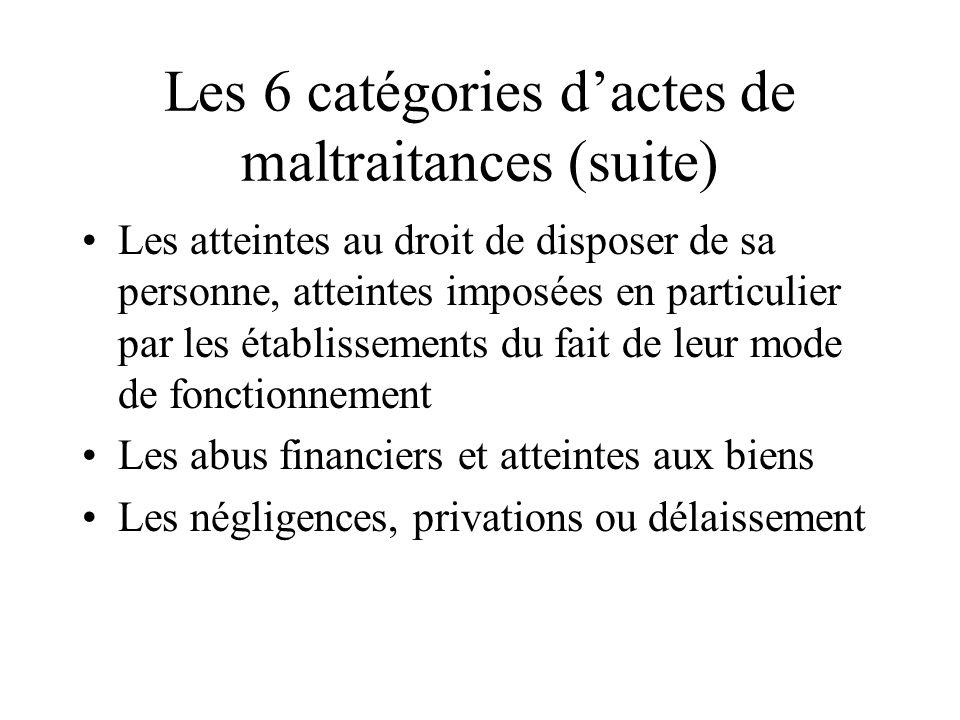 Les 6 catégories dactes de maltraitances (suite) Les atteintes au droit de disposer de sa personne, atteintes imposées en particulier par les établiss