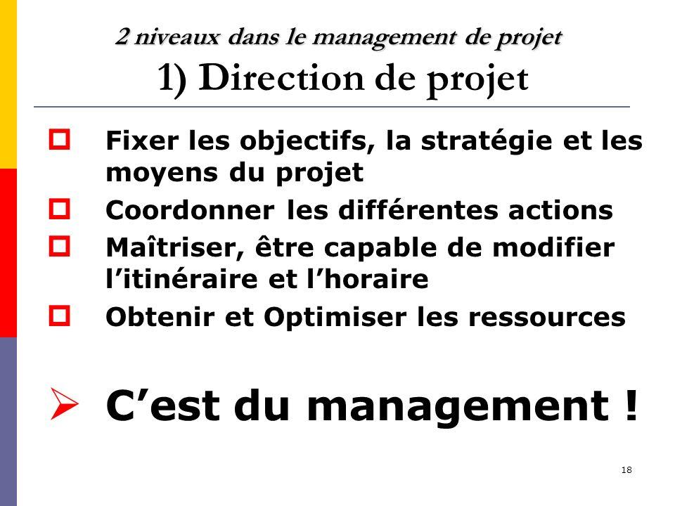 18 2 niveaux dans le management de projet 2 niveaux dans le management de projet 1) Direction de projet Fixer les objectifs, la stratégie et les moyen