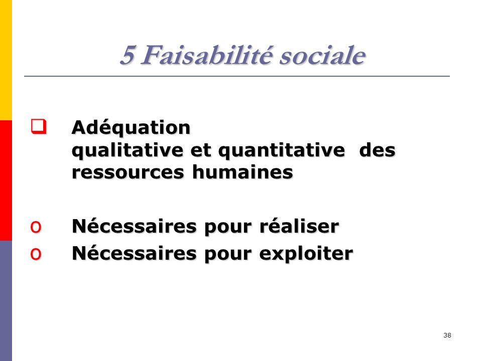 38 5 Faisabilité sociale Adéquation qualitative et quantitative des ressources humaines Adéquation qualitative et quantitative des ressources humaines