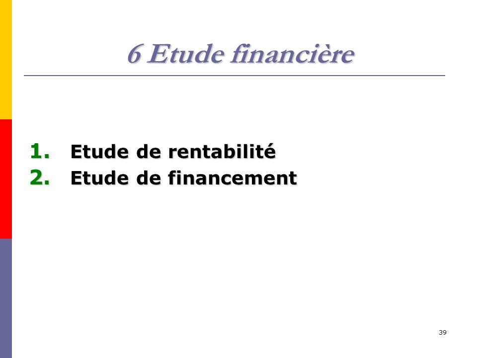 39 6 Etude financière 1. Etude de rentabilité 2. Etude de financement