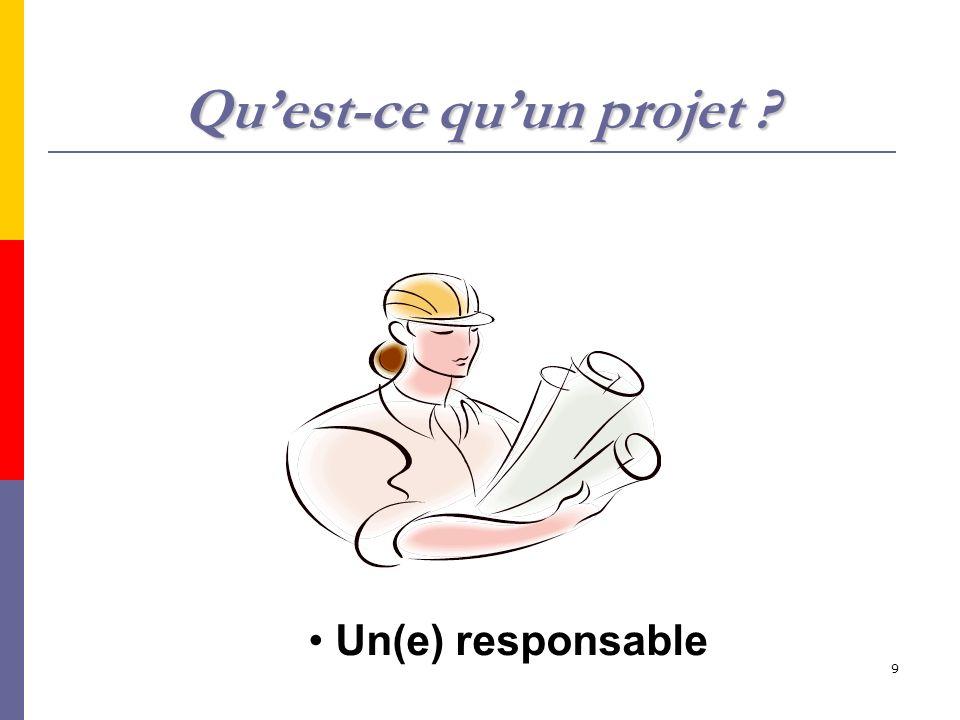 9 Quest-ce quun projet ? Un(e) responsable