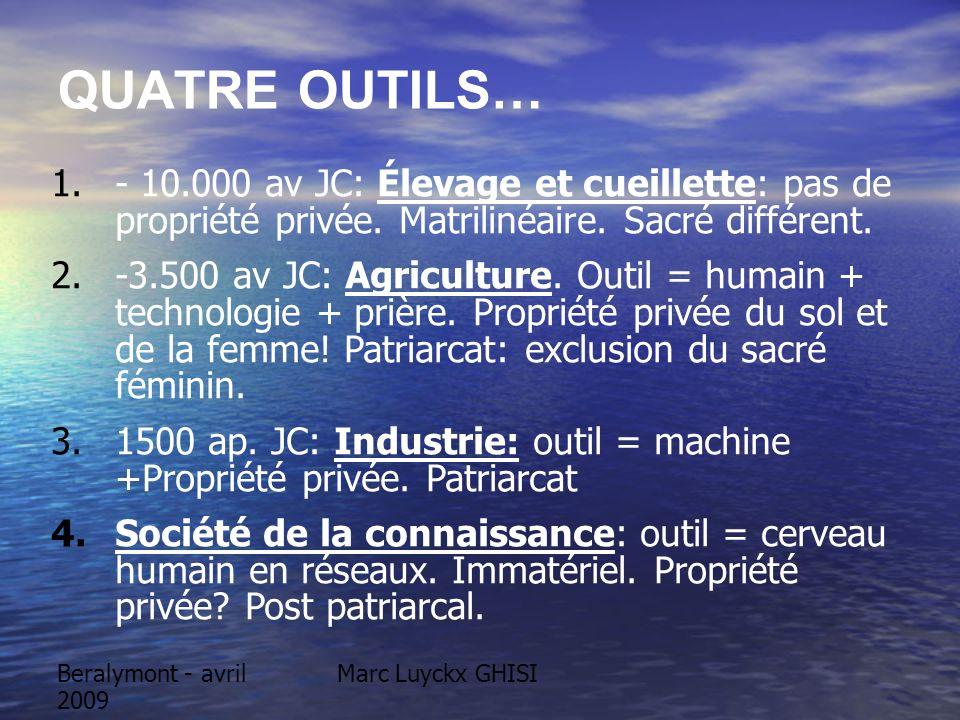 Beralymont - avril 2009 Marc Luyckx GHISI QUATRE OUTILS… 1.- 10.000 av JC: Élevage et cueillette: pas de propriété privée. Matrilinéaire. Sacré différ