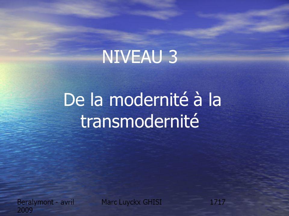 Marc Luyckx GHISIBeralymont - avril 2009 NIVEAU 3 De la modernité à la transmodernité 1717