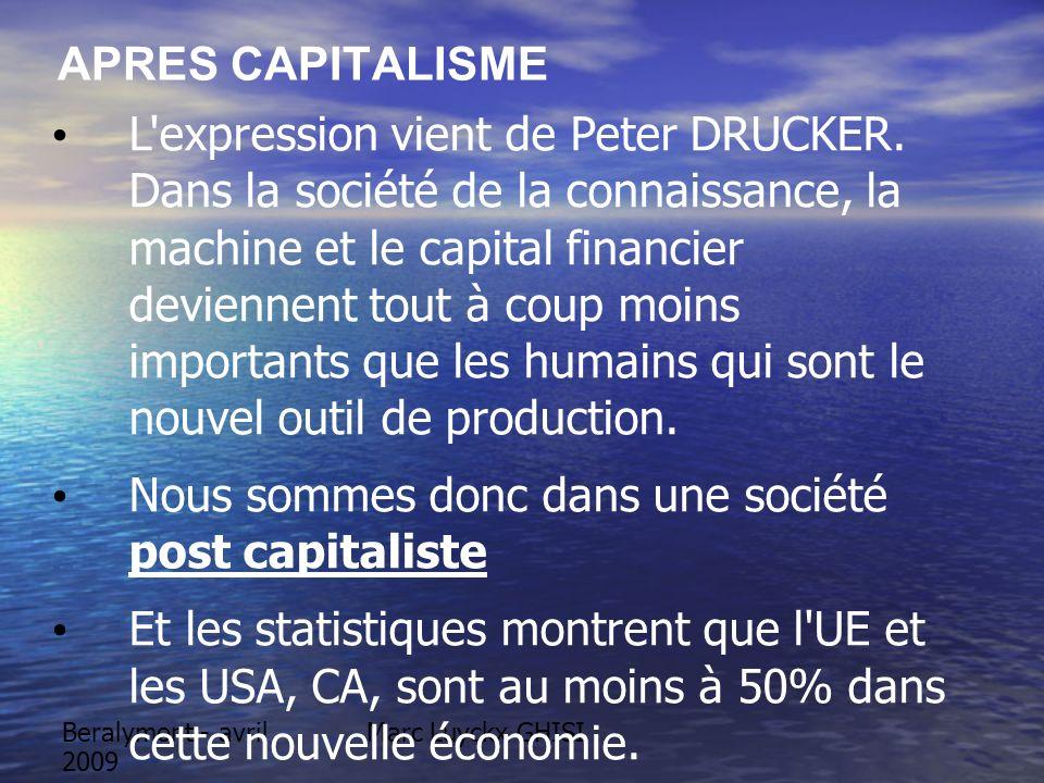 Beralymont - avril 2009 APRES CAPITALISME L'expression vient de Peter DRUCKER. Dans la société de la connaissance, la machine et le capital financier