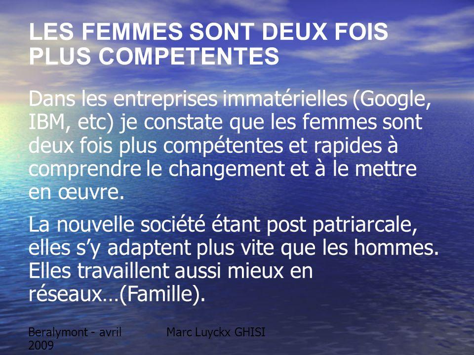 Beralymont - avril 2009 Marc Luyckx GHISI LES FEMMES SONT DEUX FOIS PLUS COMPETENTES Dans les entreprises immatérielles (Google, IBM, etc) je constate que les femmes sont deux fois plus compétentes et rapides à comprendre le changement et à le mettre en œuvre.
