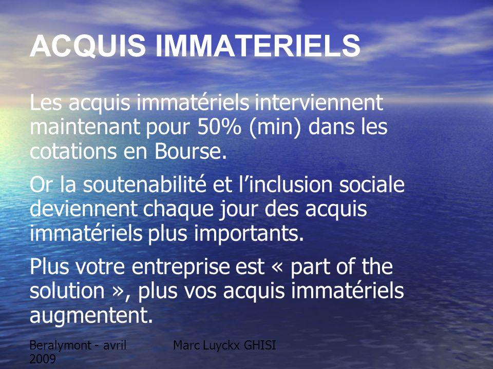 Beralymont - avril 2009 Marc Luyckx GHISI ACQUIS IMMATERIELS Les acquis immatériels interviennent maintenant pour 50% (min) dans les cotations en Bour
