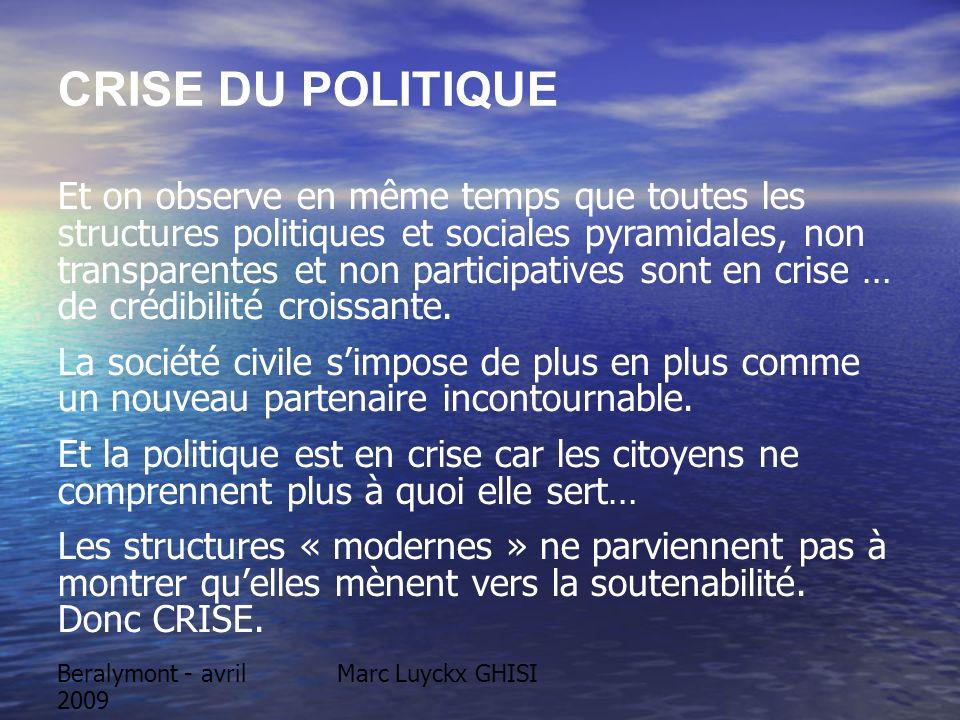 Beralymont - avril 2009 Marc Luyckx GHISI CRISE DU POLITIQUE Et on observe en même temps que toutes les structures politiques et sociales pyramidales,
