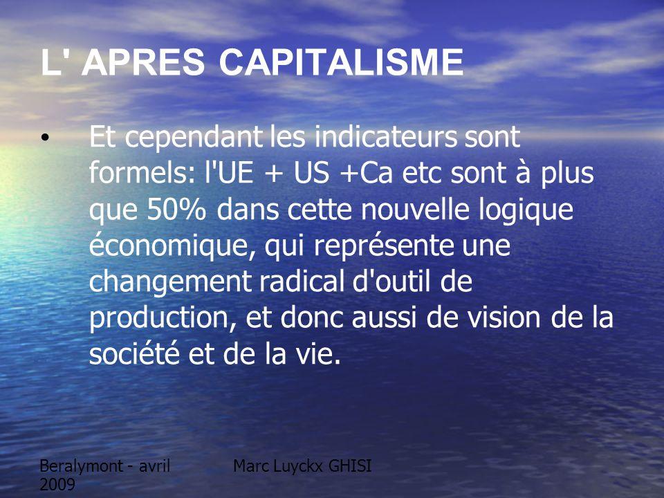 Marc Luyckx GHISIBeralymont - avril 2009 L APRES CAPITALISME Et cependant les indicateurs sont formels: l UE + US +Ca etc sont à plus que 50% dans cette nouvelle logique économique, qui représente une changement radical d outil de production, et donc aussi de vision de la société et de la vie.