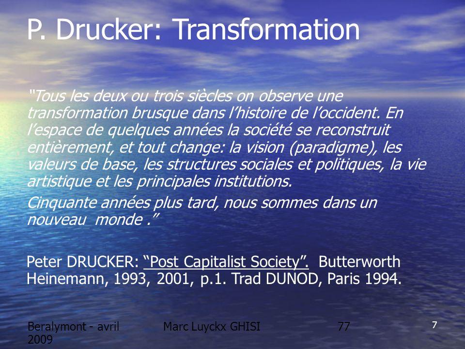 Beralymont - avril 2009 Marc Luyckx GHISI DEUX CONSEQUENCES IMPORTANTES POUR LENVIRONNEMENT 1.La Bourse pousse les entreprises à être soutenables (intangibles) 2.Le nouveau concept de croissance qualitative fait basculer la paysage.