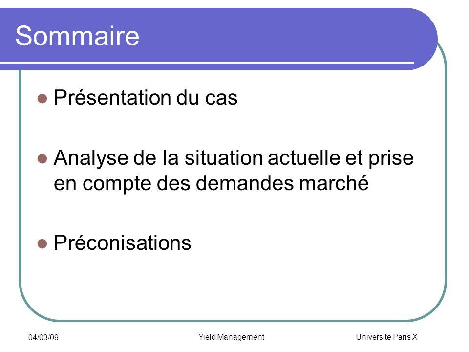 Université Paris X 04/03/09 Yield Management Sommaire Présentation du cas Analyse de la situation actuelle et prise en compte des demandes marché Préc