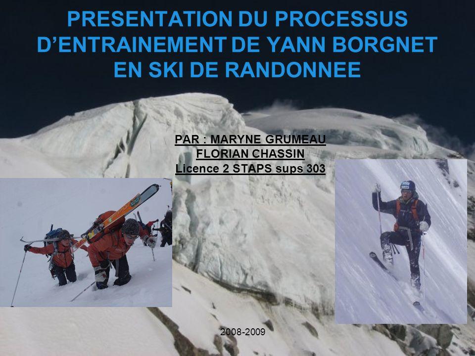 PRESENTATION DU PROCESSUS DENTRAINEMENT DE YANN BORGNET EN SKI DE RANDONNEE PAR : MARYNE GRUMEAU FLORIAN CHASSIN Licence 2 STAPS sups 303 2008-2009