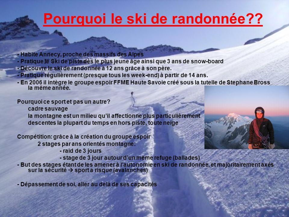 Pourquoi le ski de randonnée?? - Habite Annecy, proche des massifs des Alpes - Pratique le Ski de piste dès le plus jeune âge ainsi que 3 ans de snow-