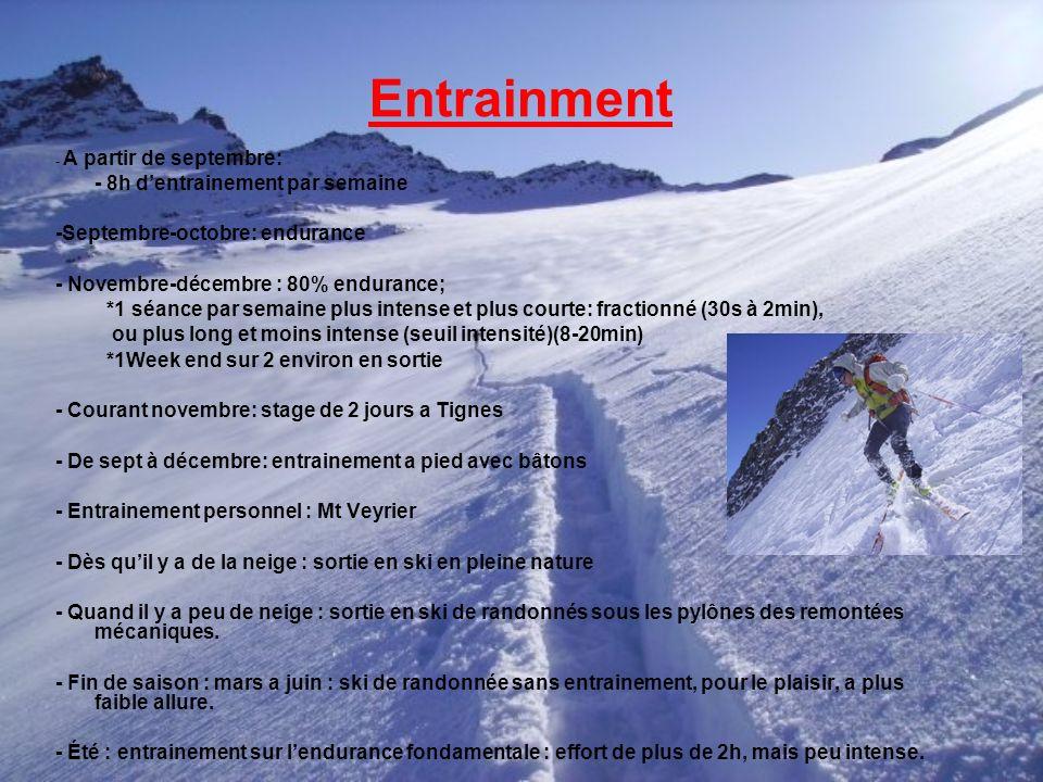 Entrainment - A partir de septembre: - 8h dentrainement par semaine -Septembre-octobre: endurance - Novembre-décembre : 80% endurance; *1 séance par s