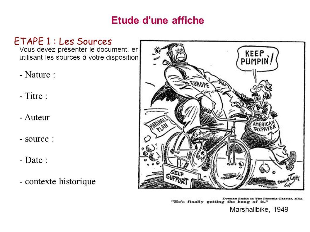 ETAPE 2 : Décrire Vous devez décrire - Le lieux et le décor - Les plans - Scénes et actions - Les élèments de l affiche Etude d une affiche Marshallbike, 1949