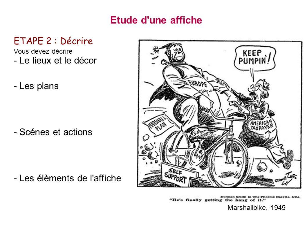 ETAPE 2 : Décrire Vous devez décrire - Le lieux et le décor - Les plans - Scénes et actions - Les élèments de l'affiche Etude d'une affiche Marshallbi