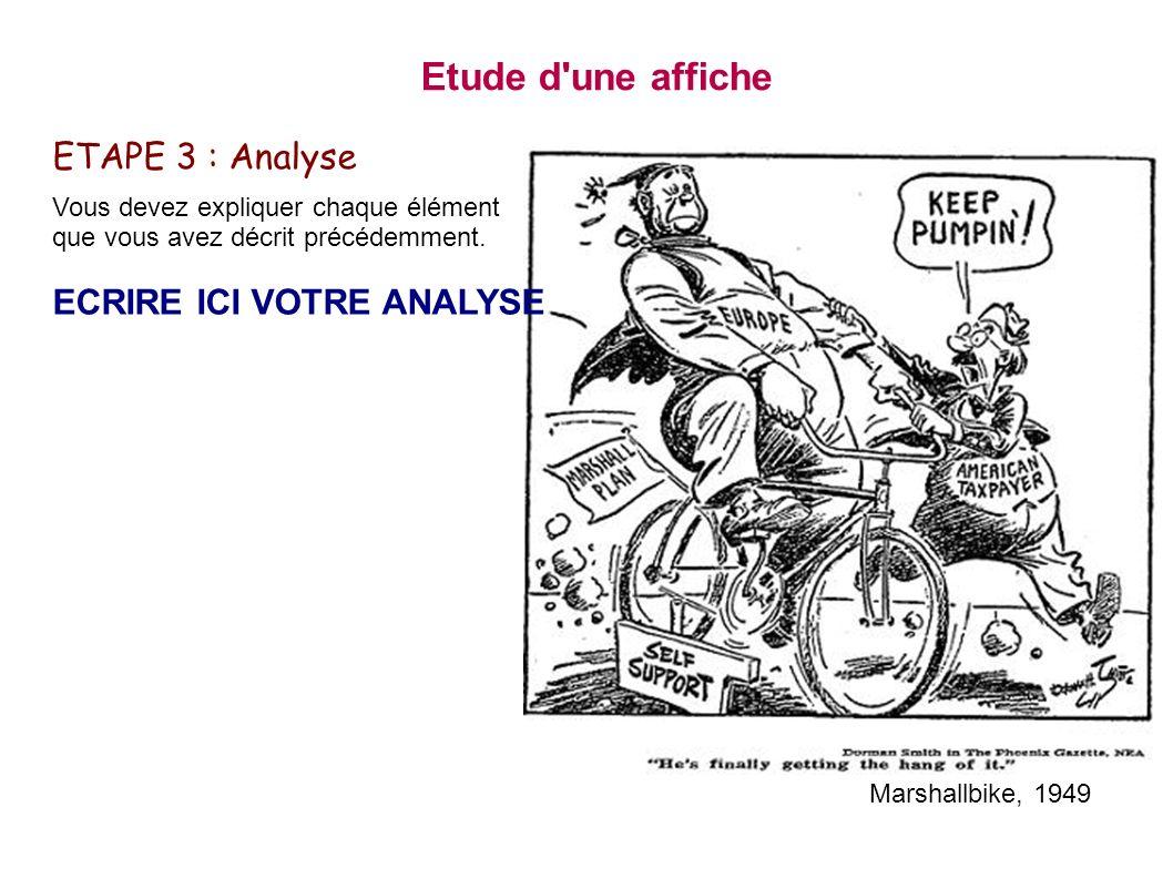 Etude d'une affiche ETAPE 3 : Analyse Vous devez expliquer chaque élément que vous avez décrit précédemment. ECRIRE ICI VOTRE ANALYSE