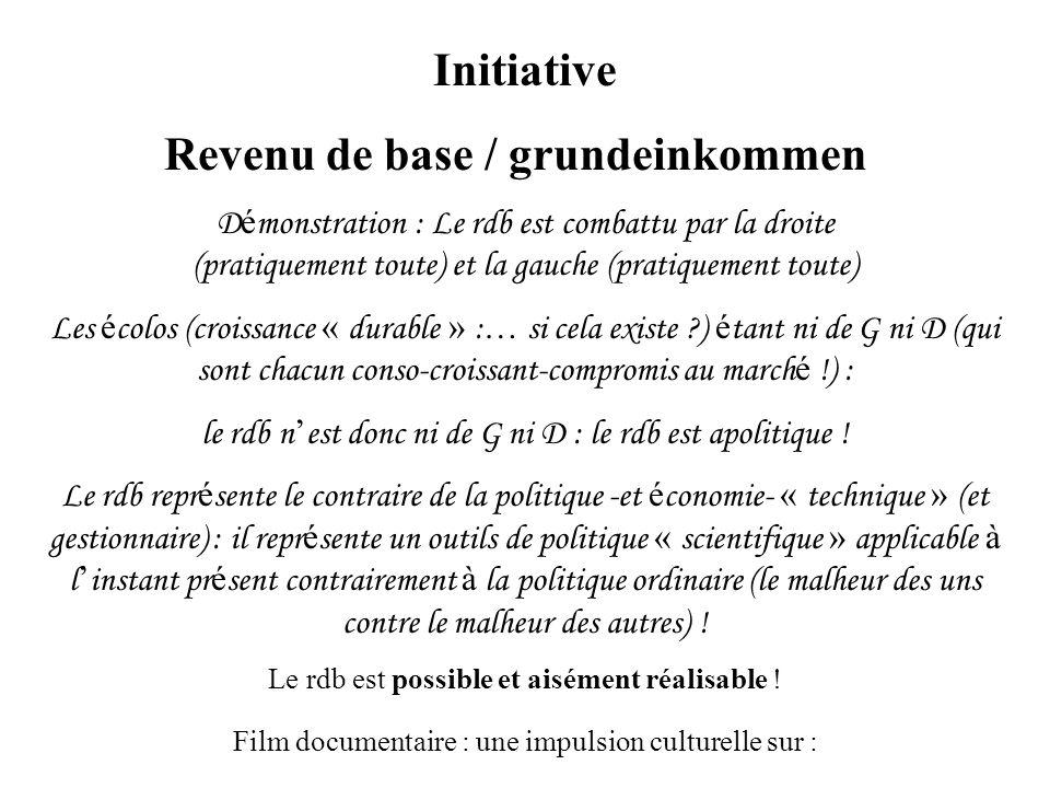Initiative Revenu de base / grundeinkommen D é monstration : Le rdb est combattu par la droite (pratiquement toute) et la gauche (pratiquement toute) Les é colos (croissance « durable » : … si cela existe ?) é tant ni de G ni D (qui sont chacun conso-croissant-compromis au march é !) : le rdb n est donc ni de G ni D : le rdb est apolitique .