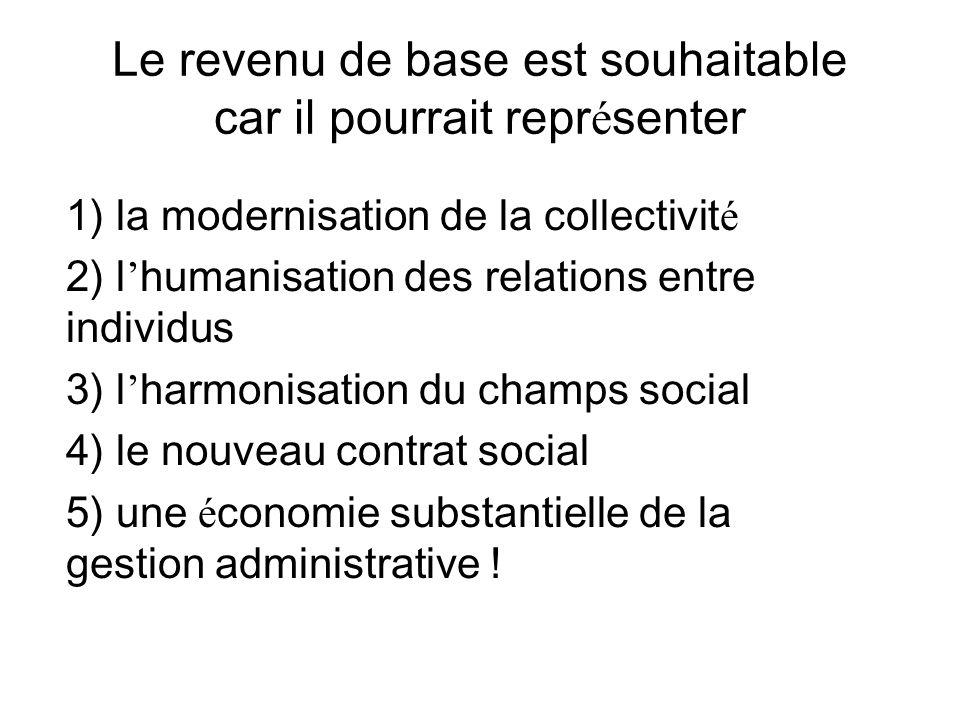 Le revenu de base est souhaitable car il pourrait repr é senter 1) la modernisation de la collectivit é 2) l humanisation des relations entre individu