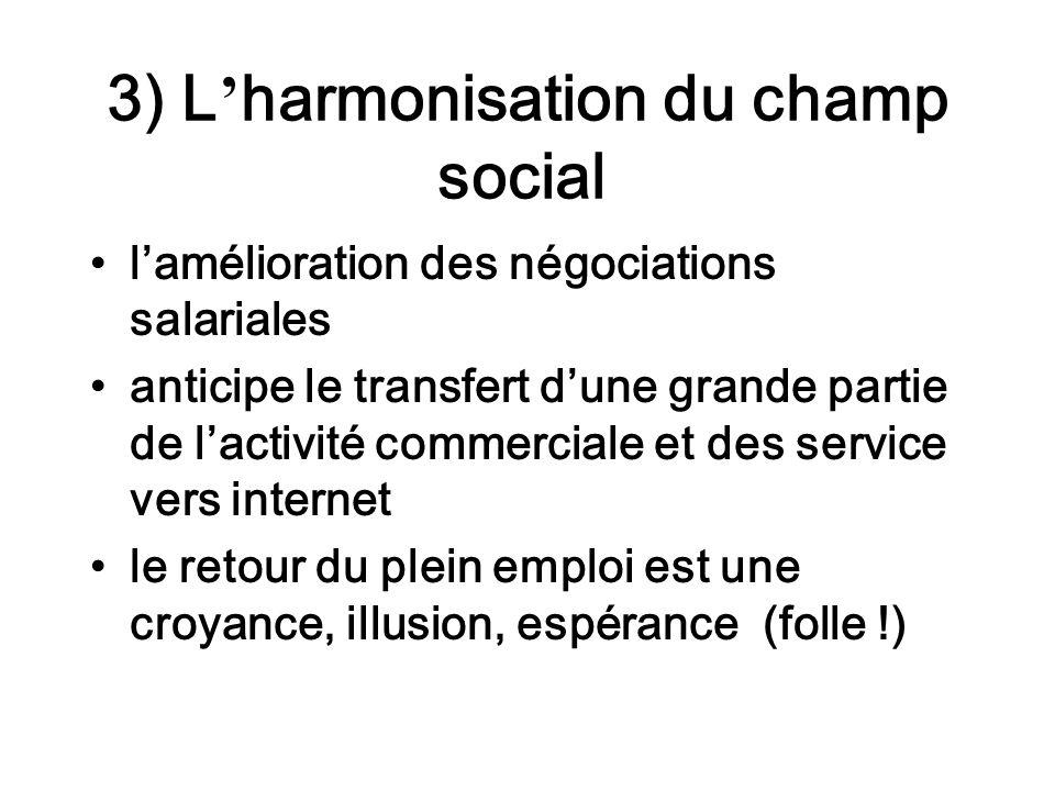 3) L harmonisation du champ social lamélioration des négociations salariales anticipe le transfert dune grande partie de lactivité commerciale et des service vers internet le retour du plein emploi est une croyance, illusion, espérance (folle !)