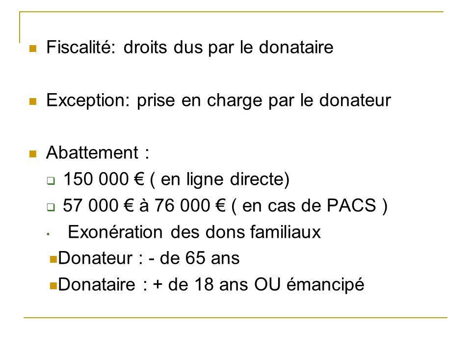 Fiscalité: droits dus par le donataire Exception: prise en charge par le donateur Abattement : 150 000 ( en ligne directe) 57 000 à 76 000 ( en cas de