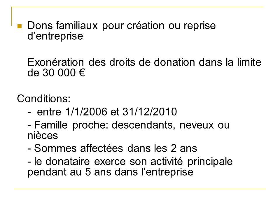 Dons familiaux pour création ou reprise dentreprise Exonération des droits de donation dans la limite de 30 000 Conditions: - entre 1/1/2006 et 31/12/